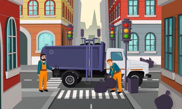 Vector cartoon city crossroad with garbage truck