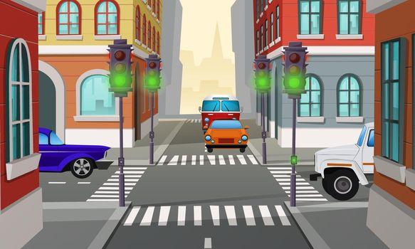 Vector cartoon city crossroad with traffic lights