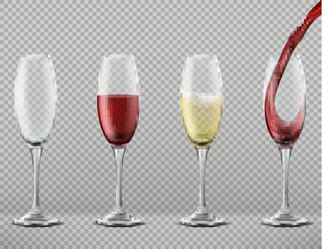 Vector set of wine glasses with alcoholic drinks