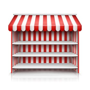 Vector empty market stall with shelves and awning
