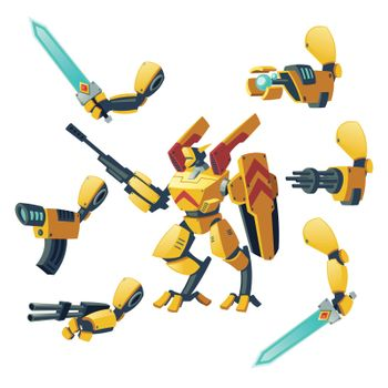 Vector android, robot, cyborg humanoid