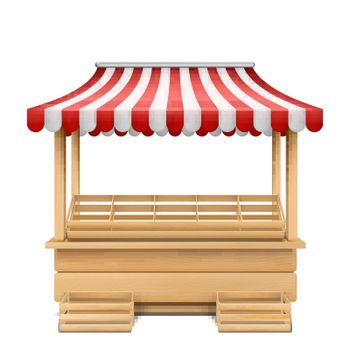 Vector empty market stall with striped awning