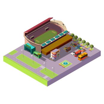 City public stadium 3d isometric vector icon