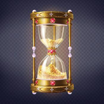 Precious sand clock with golden sand vector