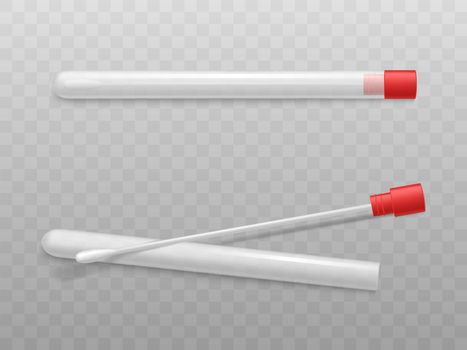 Laboratory cotton swabs with sterile tubes vector