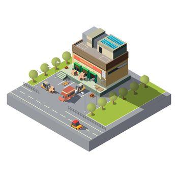 Postal company warehouse isometric vector icon