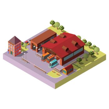 Bus depot building exterior isometric vector icon