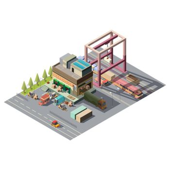 Warehouse with cargo cars 3d isometric vector