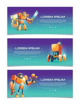 Cybernetic organisms cartoon vector web banners