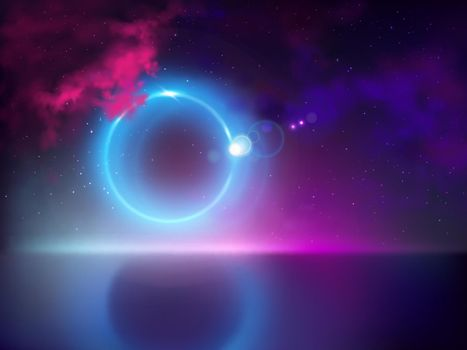 Abstract light halo in night sky vector