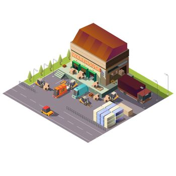 Commercial warehouse building isometric vector