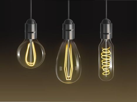 Filament bulbs set. Glowing retro edison lamps