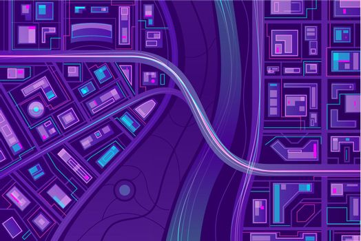 Bridge on city map flat vector background