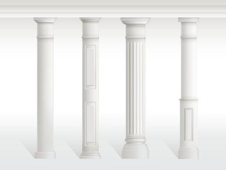 Antique columns set, figured pillars balustrade