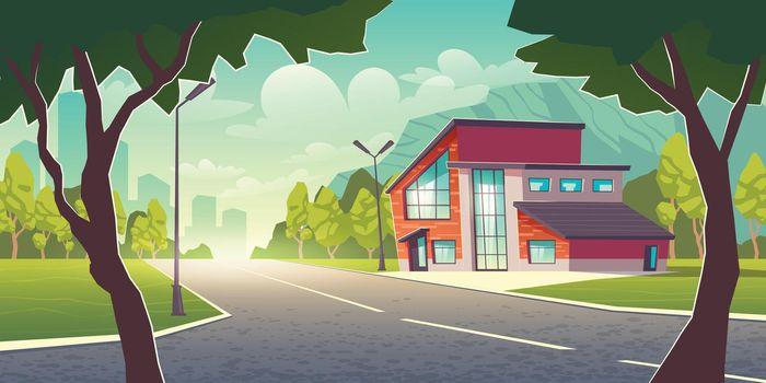 Modern house in metropolis suburb cartoon vector