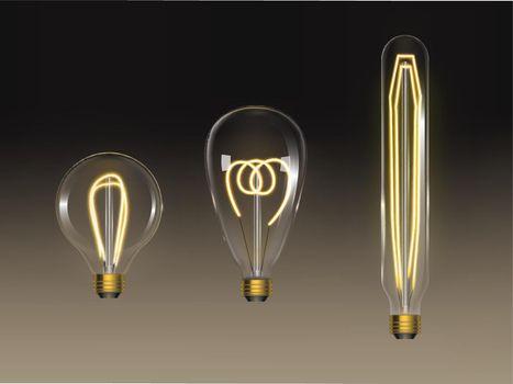 Filament bulbs set. Retro edison lamps isolated