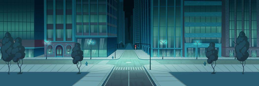 Crossroad night city, empty transport intersection
