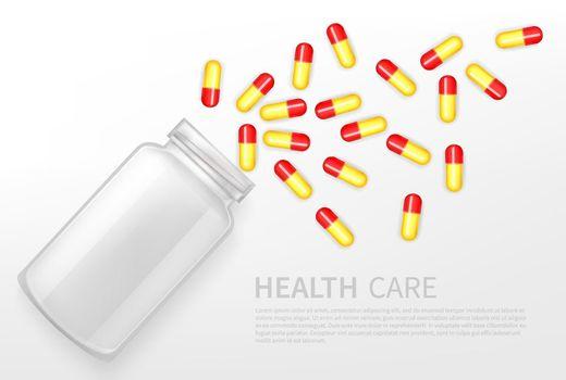 Pharmacy, health care service vector ad banner