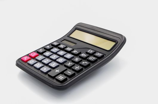 top view calculator digital black isolated white background