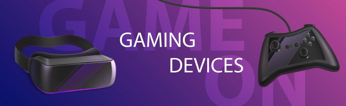 Gaming devices vr glasses and gamepad banner.