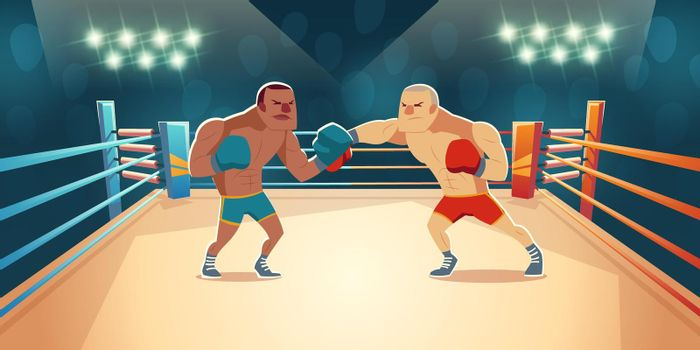 Boxers fighting on ring, opponents wrestling match