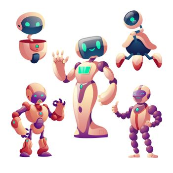 Robots set. Humanoid cyborgs with face, body, arms