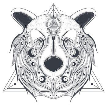 Bear ornamental head with valknut line art vector