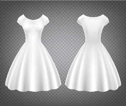 White retro woman dress for wedding or party