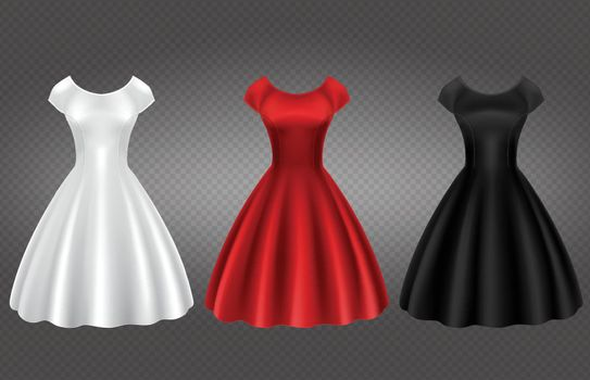 White, black and red retro woman cocktail dress