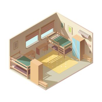 Hostel hotel room isometric vector interior