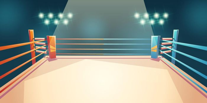 Box ring, arena for sports fighting. Empty area