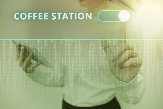 Text showing inspiration Coffee Station. Concept meaning a small, informal restaurant that typically serves hot drinks Inspirational business technology concept with copy space