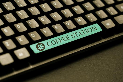 Conceptual display Coffee Station. Word Written on a small, informal restaurant that typically serves hot drinks Typing Helpful Blog Tutorial And Guides, Researching Strategies Online