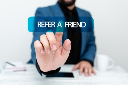 Handwriting text Refer A Friend. Business approach direct someone to another or send him something like gift Presenting Communication Technology Smartphone Voice And Video Calling