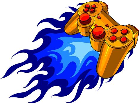 joypad with flames for gaming vector illustration