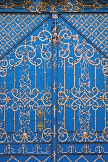 Beautiful painted blue doors in the old part of the city.