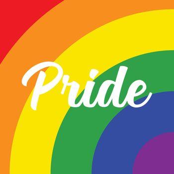 Pride text on rainbow background