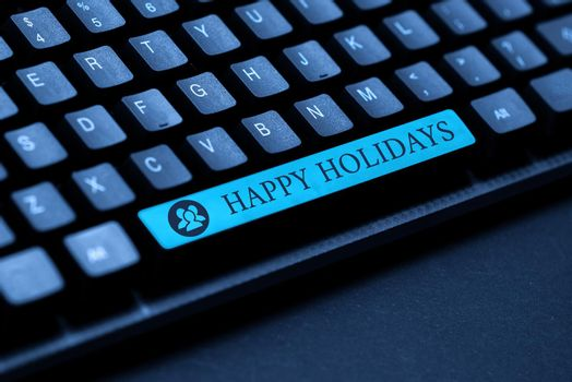 Text showing inspiration Happy Holidays. Word Written on observance of the Christmas spirit lasting for a week Typing Helpful Blog Tutorial And Guides, Researching Strategies Online