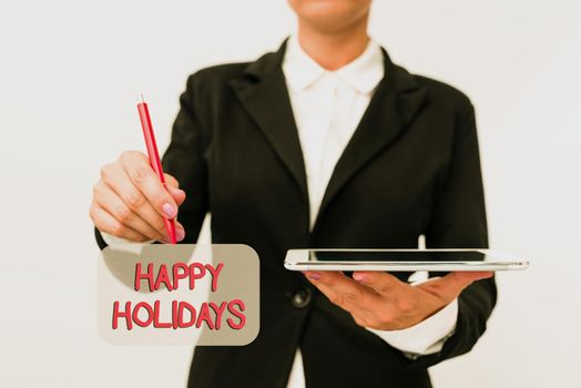 Conceptual display Happy Holidays. Business approach observance of the Christmas spirit lasting for a week Presenting New Technology Ideas Discussing Technological Improvement
