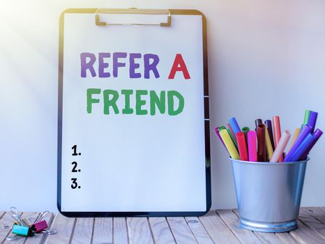 Conceptual caption Refer A Friend. Business showcase direct someone to another or send him something like gift Inspirational business technology concept with copy space