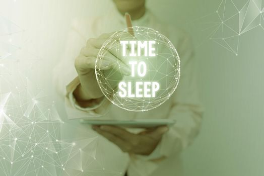 Conceptual display Time To Sleep. Business concept a natural period of slumber or to be in state of inactivity Inspirational business technology concept with copy space
