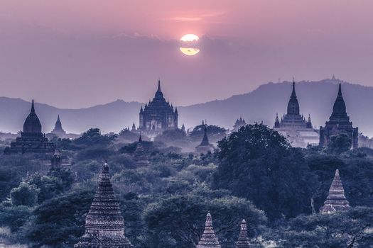 Temples of Bagan an ancient city located in the Mandalay Region of Burma, Myanmar, Asia.