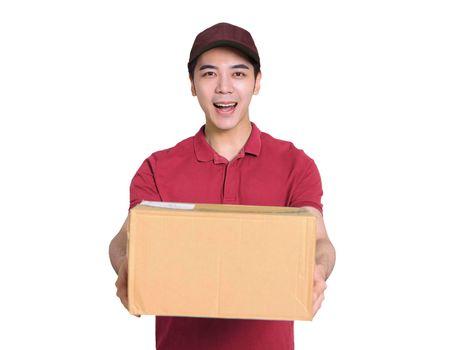 Young  deliveryman holding a carton of goods