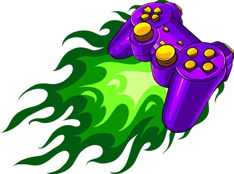 controller console with flames vector illustration design
