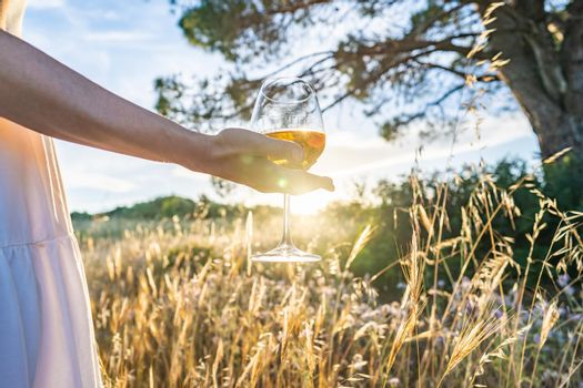Suggestive scene of unrecognizable woman in white boho style dress and large dark hat holding wine glass looking at sunset in a high grass meadow. Alone girl drinking champagne in the nature at dusk