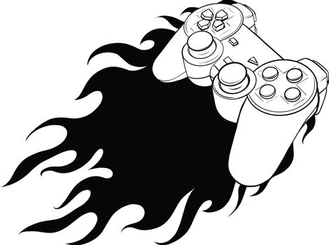 silhouette joypad with flames for gaming vector illustration