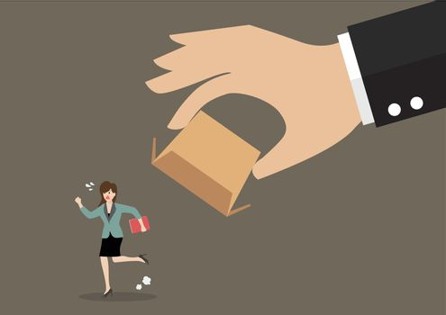 Business woman running away from cardboard box