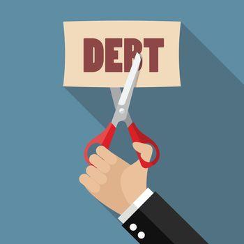 Hand cutting debt paper