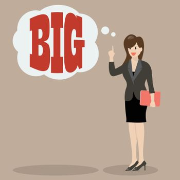 Business woman think big