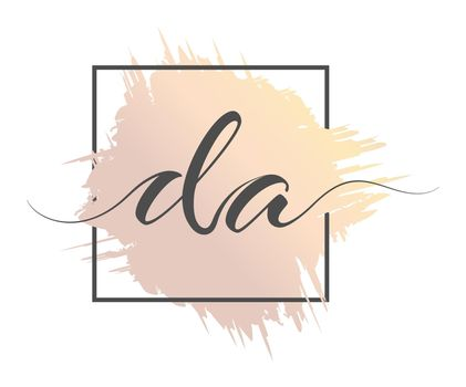 Calligraphic lowercase letters with a calligraphic lowercase letters DA are written in a solid line on a colored background in a frame. Vector illustration. Simple Style